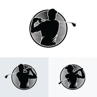 Coleção de inspiração de design de logotipo de esporte de golfe