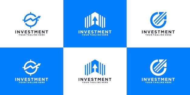 Coleção de inspiração de design de logotipo de investimento financeiro com seta abstrata