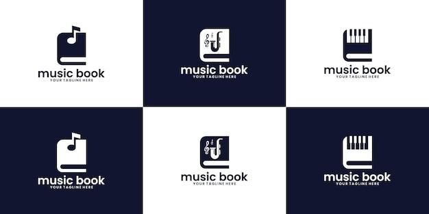 Coleção de inspiração de design de logotipo de livro de música