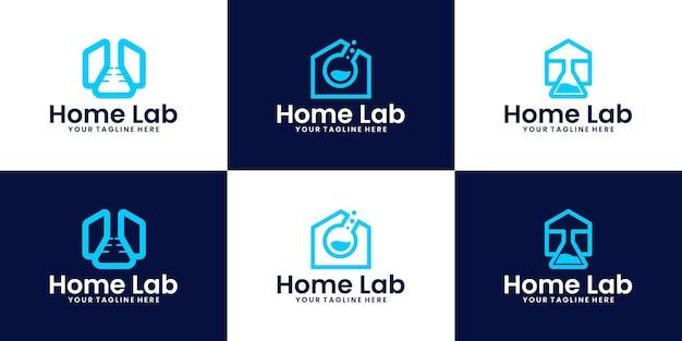Coleção de inspiração de design de logotipo doméstico de laboratório de pesquisa
