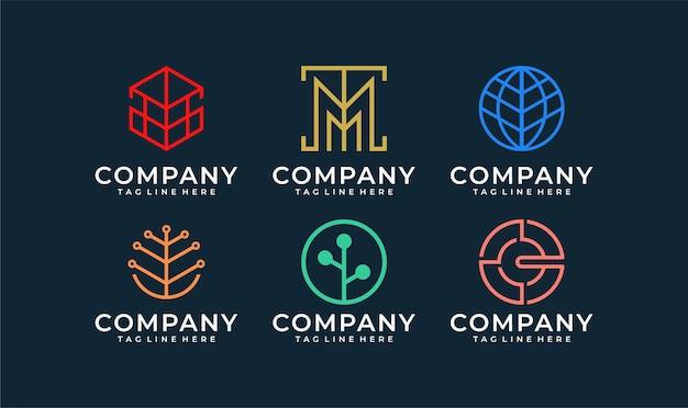 Coleção de inspiração de pacote de design de logotipo abstrato