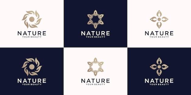Coleção de inspiração para o design de logotipo da natureza, flores, mandalas e folhas naturais