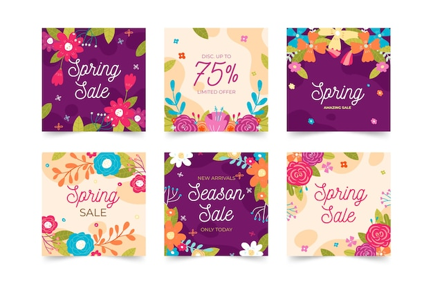 Coleção de instagrampost de venda de primavera
