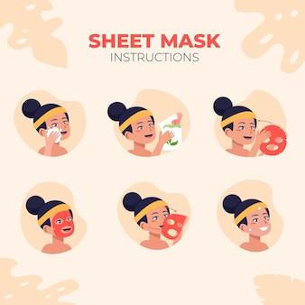 Coleção de instruções de máscara de folha