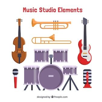 Coleção de instrumentos musicais no design plano