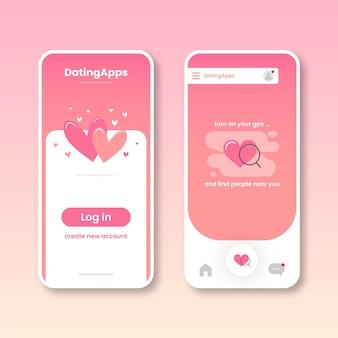 Coleção de interface de aplicativo de namoro