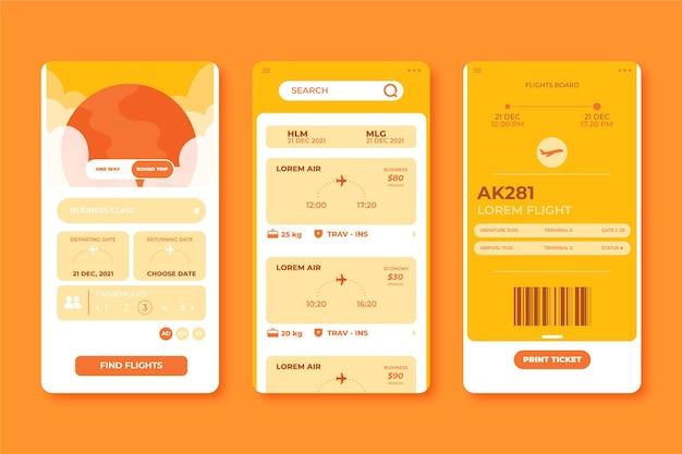 Coleção de interface de aplicativo de reserva de viagem