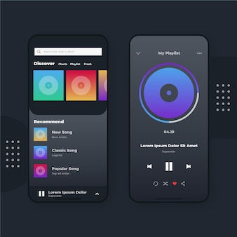 Coleção de interface de aplicativo do music player