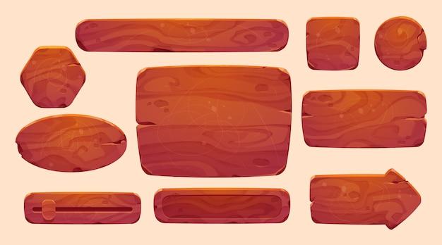 Coleção de interface do usuário de madeira de desenho animado