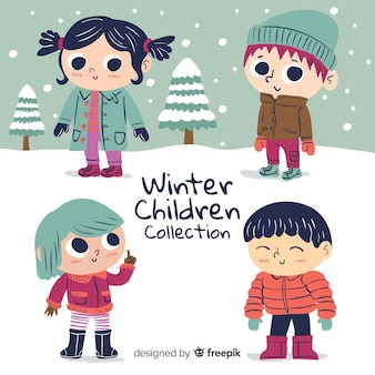 Coleção de inverno bonito crianças