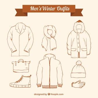 Coleção de inverno esboça conjuntos