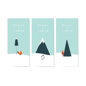 Coleção de inverno está chegando vetor de cartazes