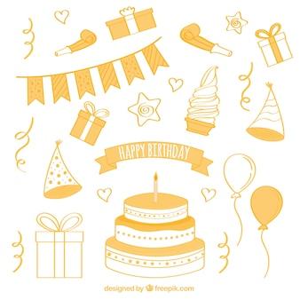 Coleção de itens de bolo e aniversário