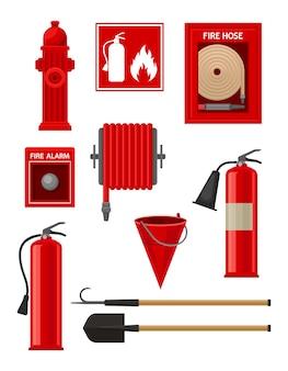 Coleção de itens de combate a incêndios.