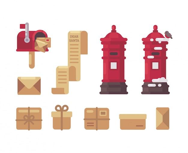 Coleção de itens de correio de natal.