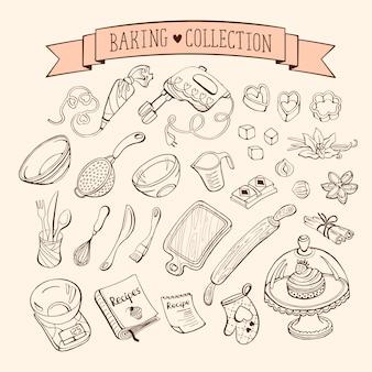 Coleção de itens de cozimento em estilo doodle