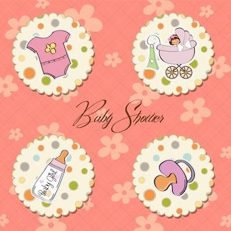 Coleção de itens de menina de bebê dos desenhos animados