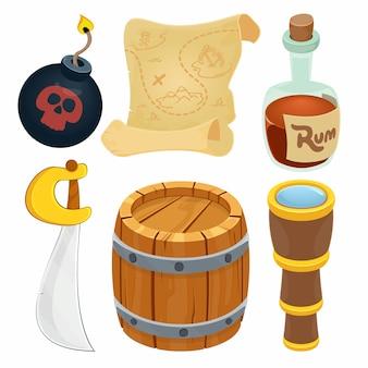 Coleção de itens de pirata.