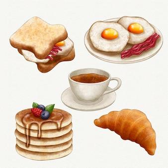 Coleção de itens deliciosos para o café da manhã