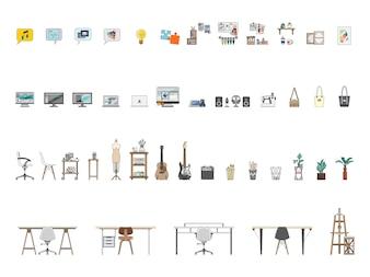 Coleção de itens ilustrados