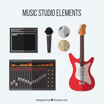 Coleção de itens relacionados a um estúdio de música