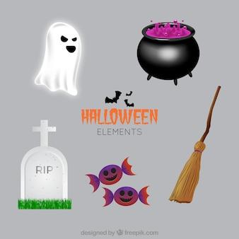 Coleção de itens típicos de halloween em design realista