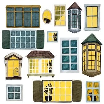 Coleção de janelas em aquarela, diferentes formas e tamanhos, escuro e claro, com elementos bonitos dentro, ilustração em aquarela desenhada à mão