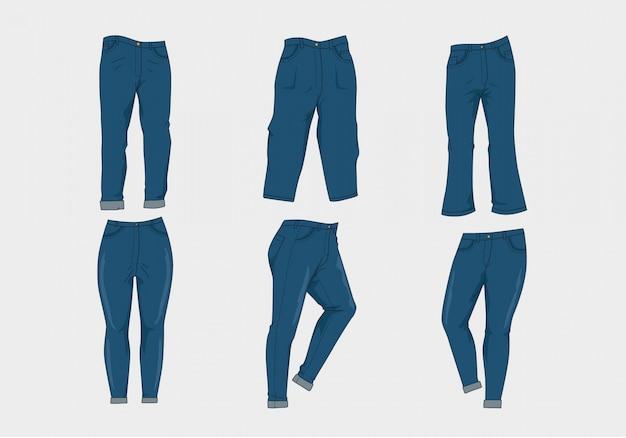 Coleção de jeans azul