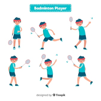 Coleção de jogador de badminton