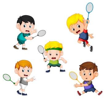 Coleção de jogador de crianças de badminton