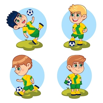Coleção de jogador de futebol de desenho animado