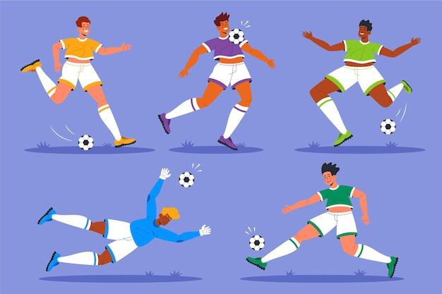 Coleção de jogador de futebol de design plano