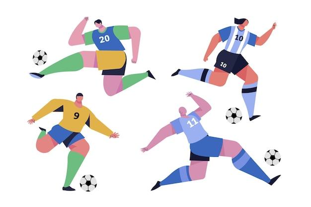 Coleção de jogador de futebol plano