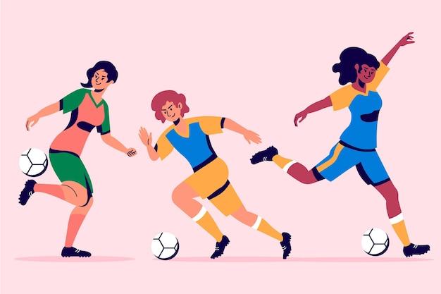 Coleção de jogadores de futebol de design plano