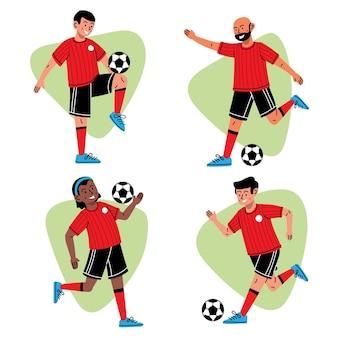 Coleção de jogadores de futebol dos desenhos animados