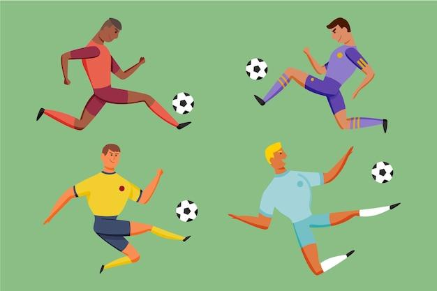 Coleção de jogadores de futebol estilo desenho animado