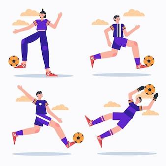 Coleção de jogadores de futebol plano