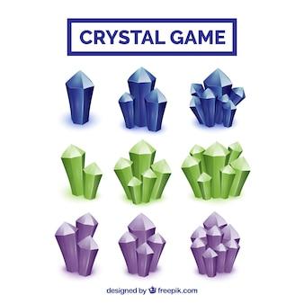 Coleção de jogo de cristais