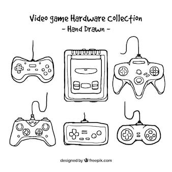 Coleção de jogo de vídeo desenhada à mão