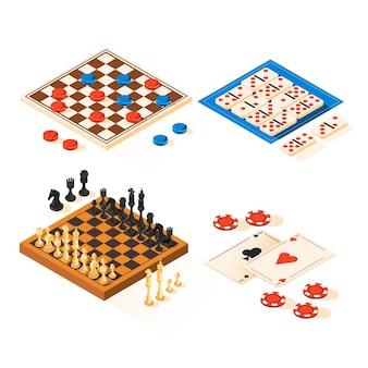 Coleção de jogos de tabuleiro de design plano