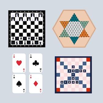 Coleção de jogos de tabuleiro sociedade