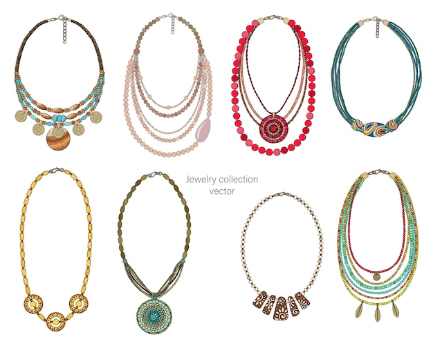 Coleção de joias de colares. isolado em um fundo branco.