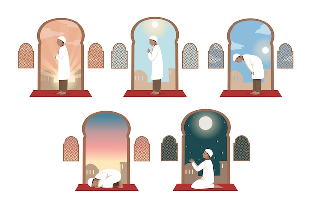 Coleção de jovem religioso muçulmano árabe personagem de desenho animado orando dia e noite em casa ou na mesquita