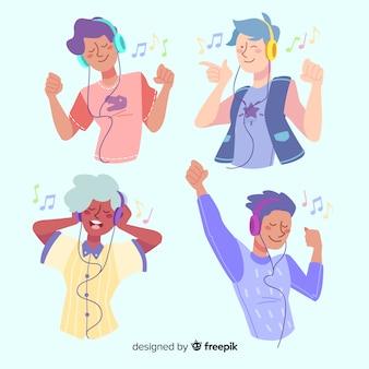 Coleção de jovens com fones de ouvido