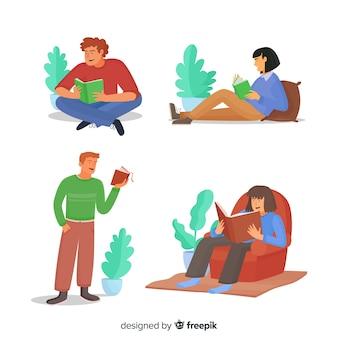 Coleção de jovens lendo livros
