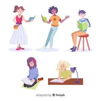 Coleção de jovens lendo