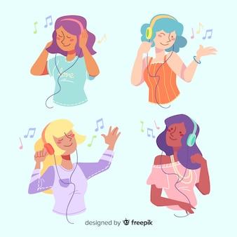 Coleção de jovens ouvindo música