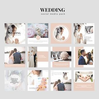 Coleção de kit de mídia sosial de casamento