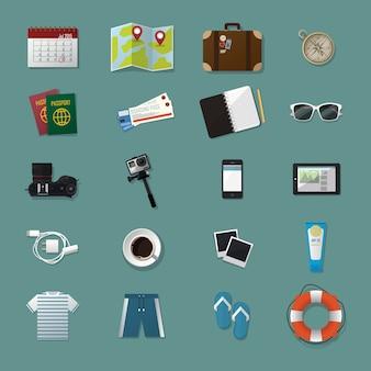 Coleção de kits de ícones de elemento de kits de viagem