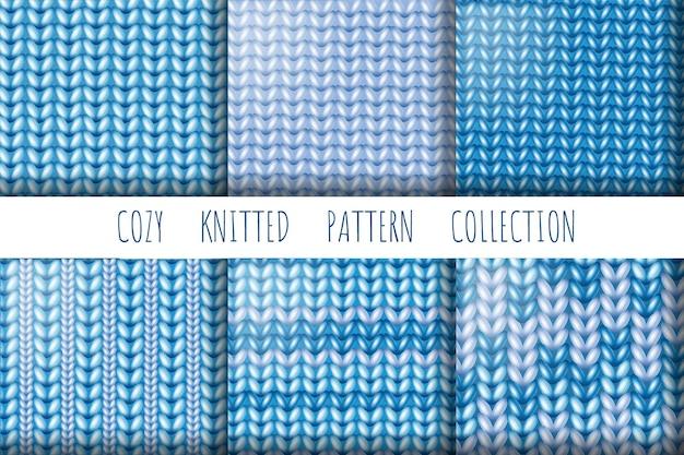 Coleção de lã tricotada, padrões sem emenda